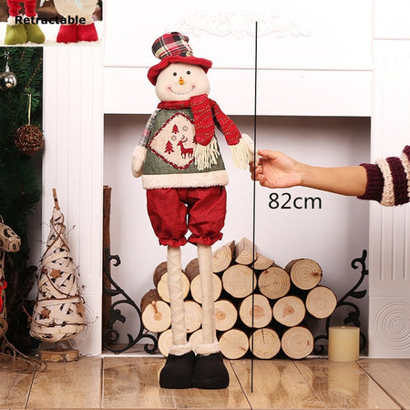 CHARMING RETRACTABLE STANDING CHRISTMAS DECORATION SANTA DOLLS AND ELVES