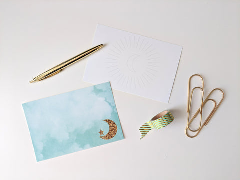 Post Cards: Watercolour Note Card with Glitter Star & Crescent / Plain Back with Moon Watermark