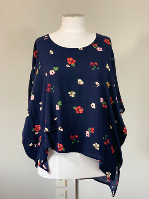 Navy Floral Side Tuck Top