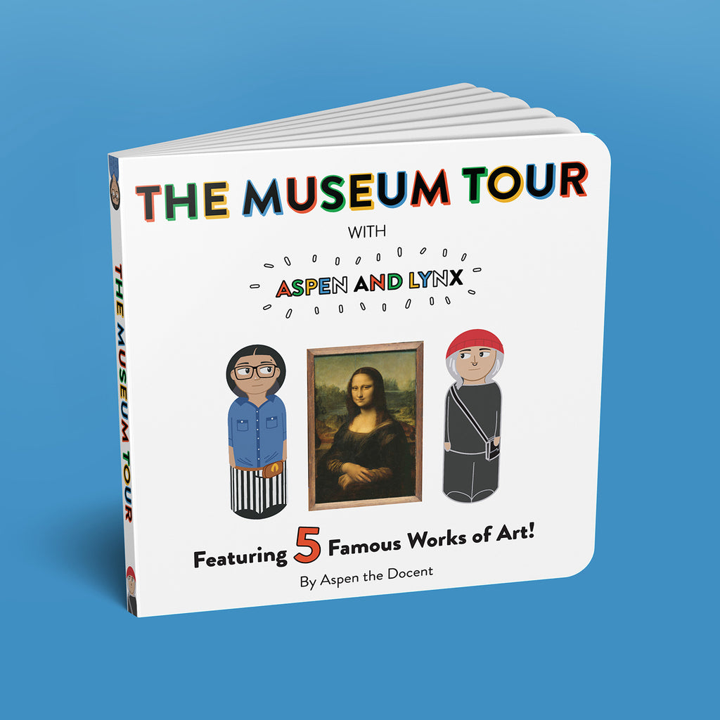 The Museum Tour Board book is a 20 page board book that leads kids through a fictional museum tour and introduces them to the five major works of art featured in the playset.  The artwork featured is the Mona Lisa by Leonardo Da Vinci, The Child's Bath by Mary Cassatt, a piece from the Suprematism series by Kazimir Malevich, A Sunday on La Grande Jatte by Georges Seurat, and Luncheon of the Boating Party by Auguste Renoir.