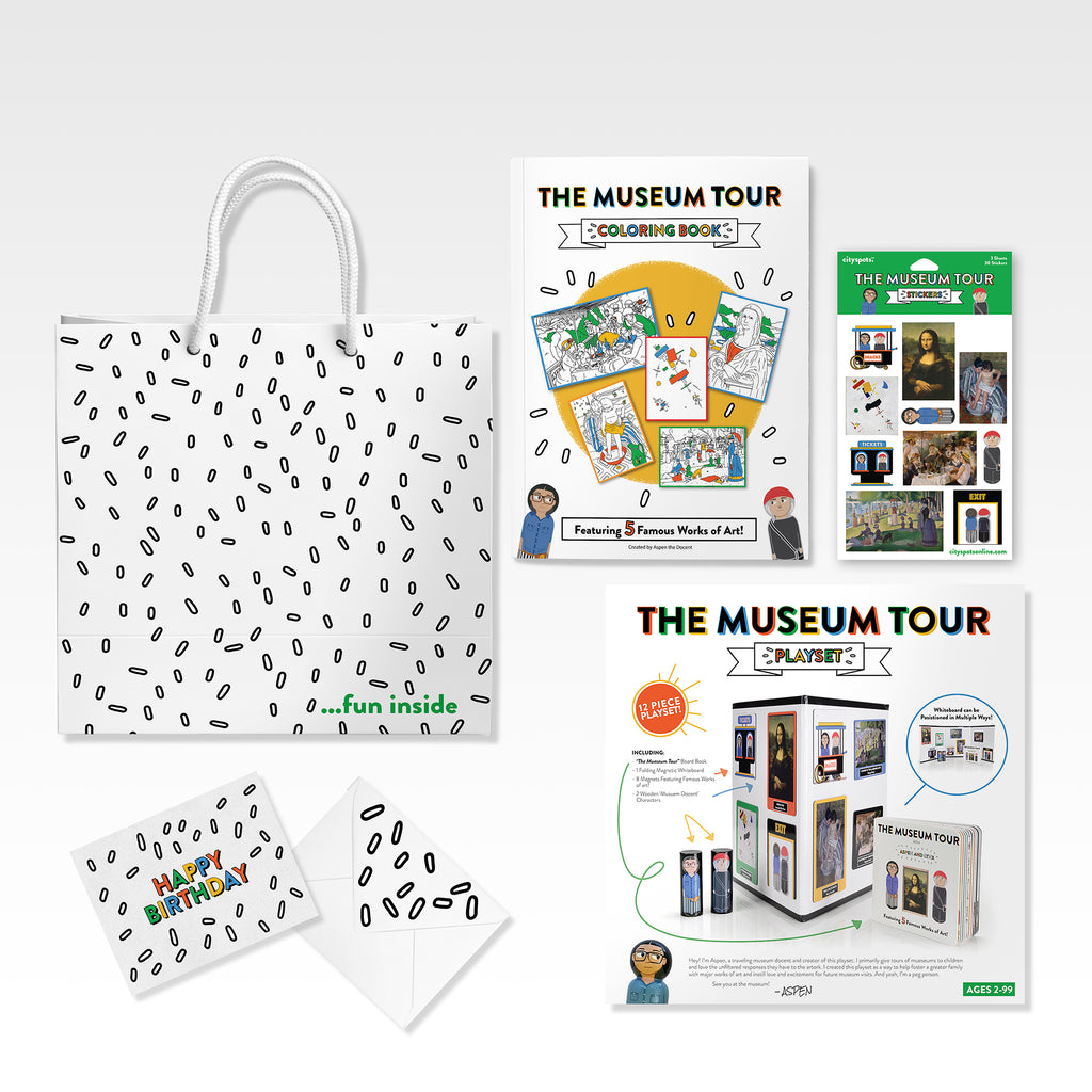The Museum Tour Birthday Pack makes it easy to stay organized for upcoming birthdays by providing you with everything you need to gift a friend or loved one.  The Birthday Pack includes (1) The Museum Tour Playset, (1) The Museum Tour Coloring Book, (1) The Museum Tour Sticker Set, (1) matching gift bag and (1) matching birthday card.