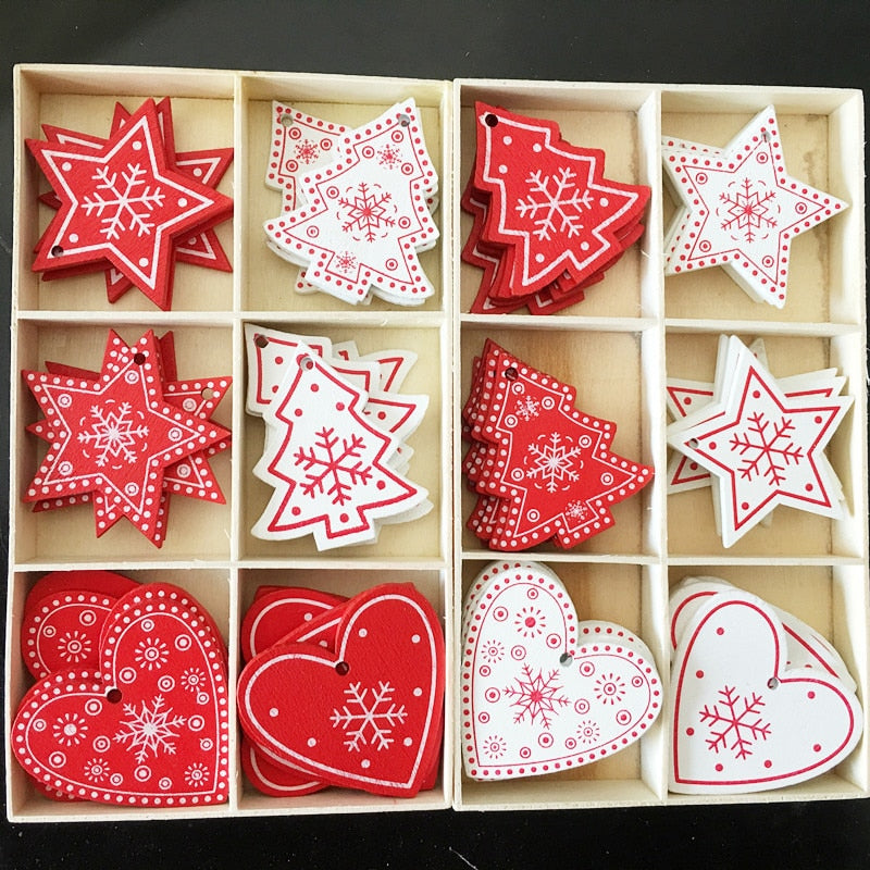 10pcs New Year Natural Wood Christmas