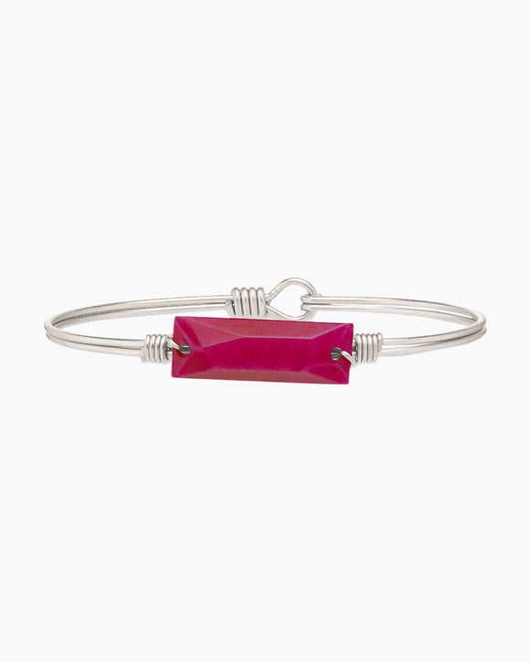 Hudson Bangle Bracelet in Raspberry Jade