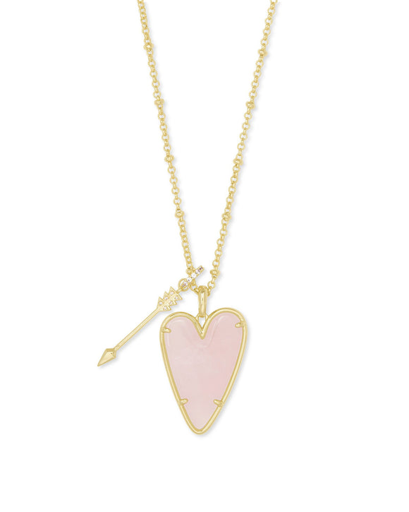 Ansley Heart Gold Long Pendant Necklace In Rose Quartz