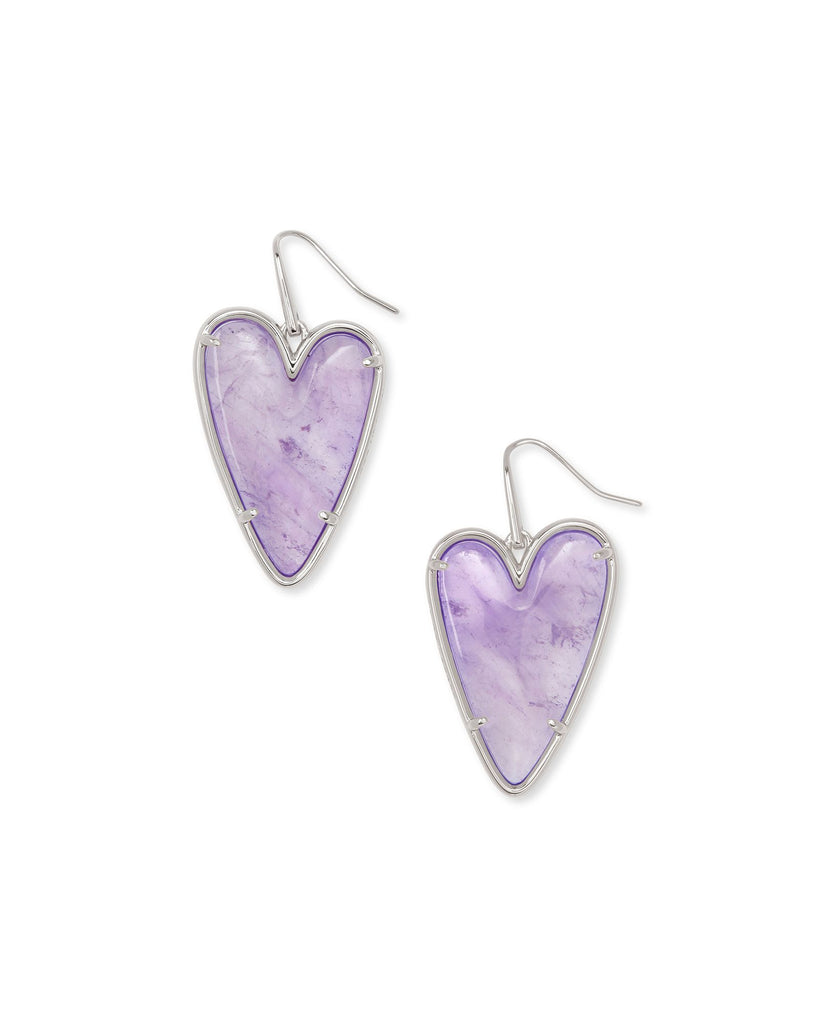 Ansley Heart Silver Drop Earrings In Amethyst