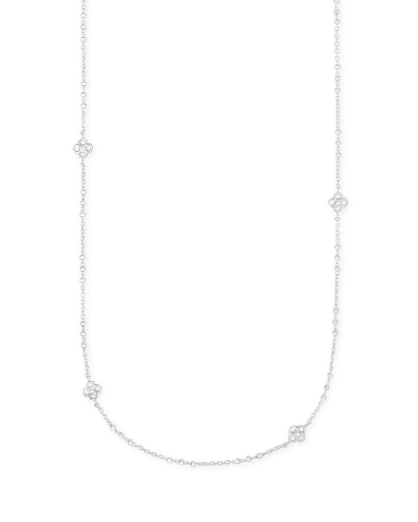 Rue Long Necklace in Rhodium