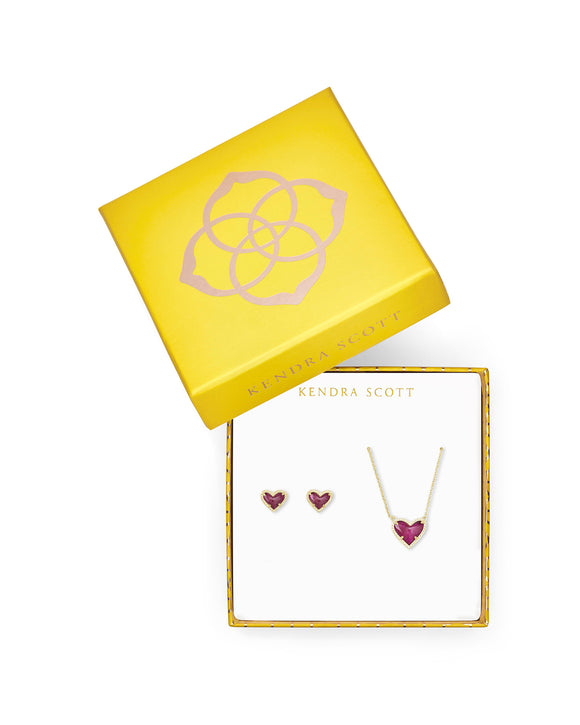 Ari Heart Necklace & Earrings Gift Set Gold and Raspberry Labradorite