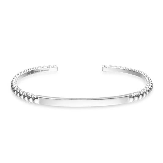 BEADED STACKING CUFF BRACELET SILVER