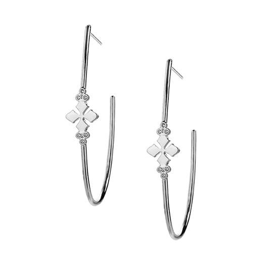 BELIEVER SILVER CROSS HOOP EARRINGS