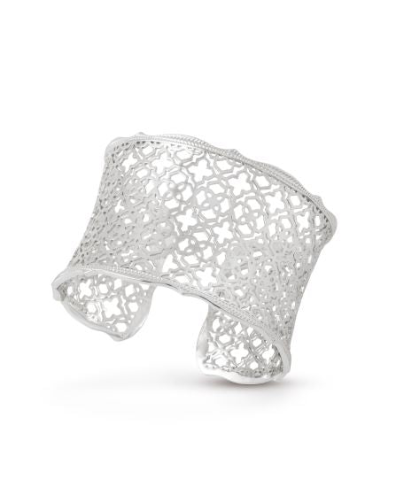 Candice Silver Cuff Bracelet In Silver Filigree Mix