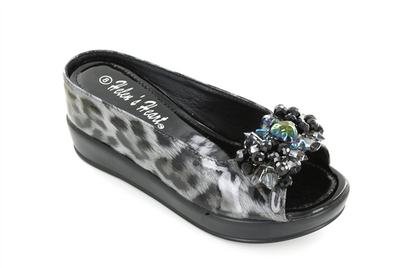 Helen's Heart Black Leopard Shoe