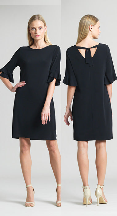 Solid Soft Knit Tulip Cuff Tie Back Dress - Black