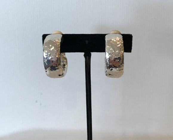 Silver Hammered Clip on Earrings