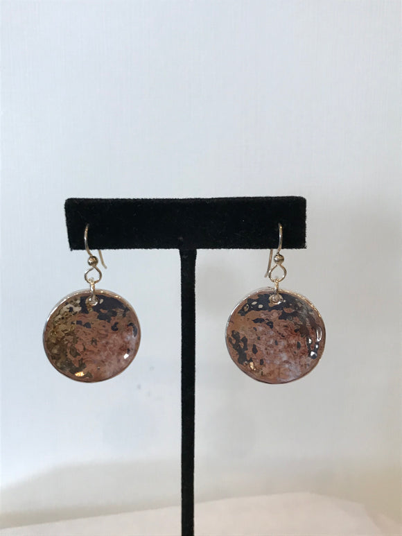 Silver French Wire Round Hammered Earrings