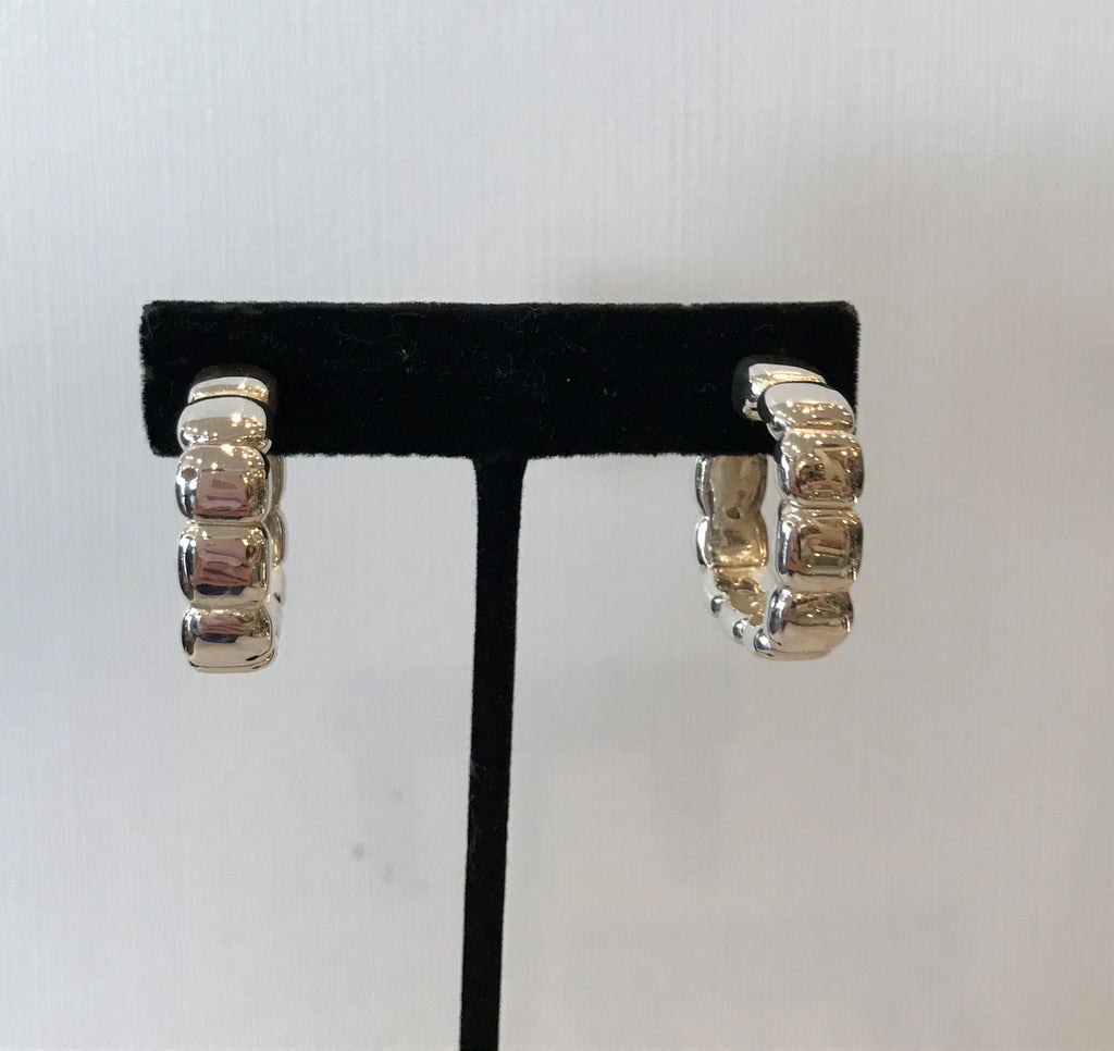 Silver Squared Hoop Earrings