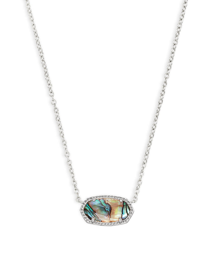 Elisa Necklace in Rhodium Abalone Shell