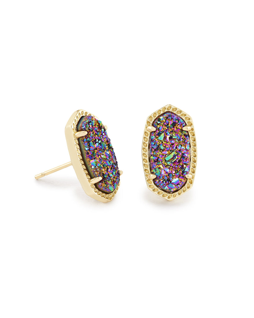 Ellie Earring in Gold Multi Drusy