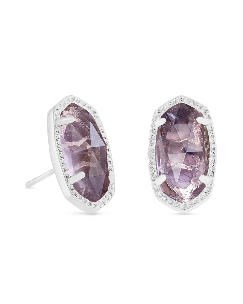 Ellie Earring in Rhodium Purple Amethyst