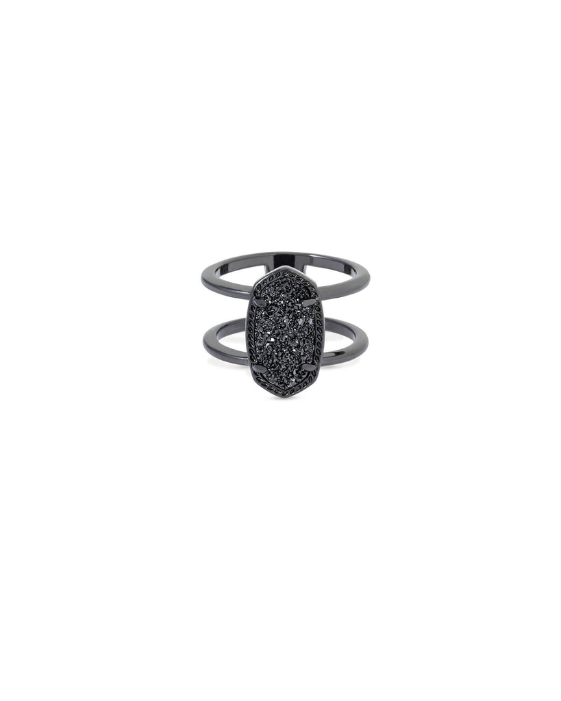 Elyse Ring in Gunmetal Black Drusy Size 6