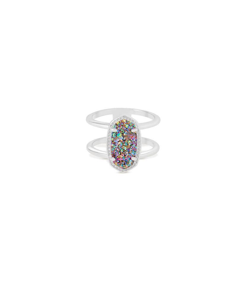 Elyse Ring in Rhodium Multi Drusy Size 6