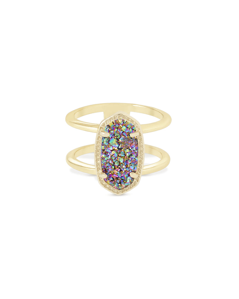 Elyse Gold Multi Drusy Ring
