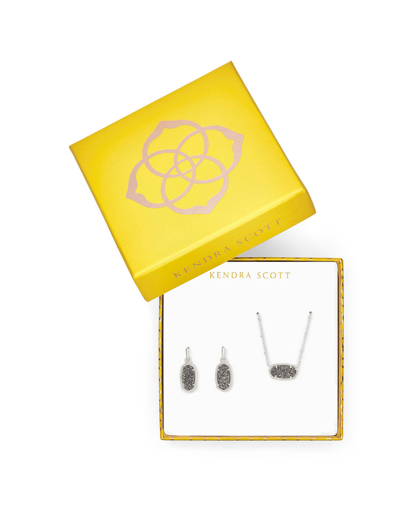 Elisa Satellite Necklace & Lee Earrings Gift Set Rhodium and Platinum Drusy