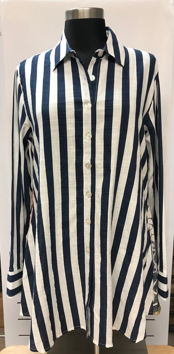 Stripped Tunic with Printed Back