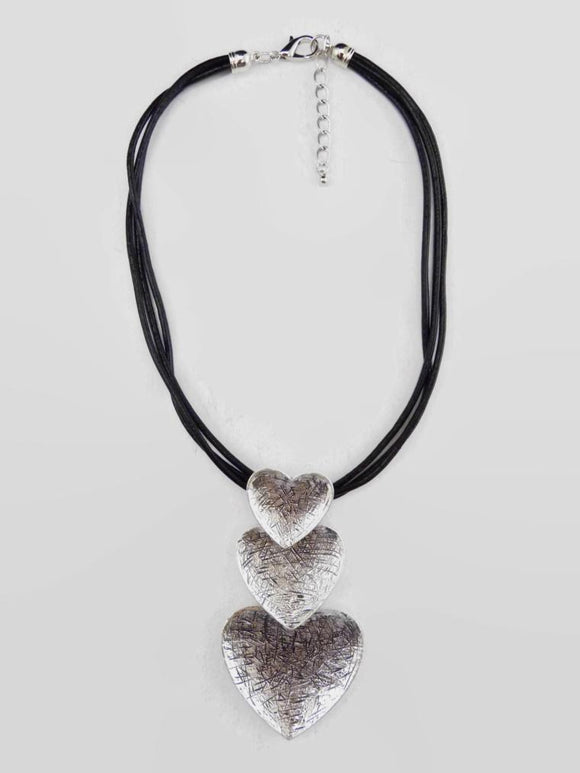 Triple Heart Pendent Necklace