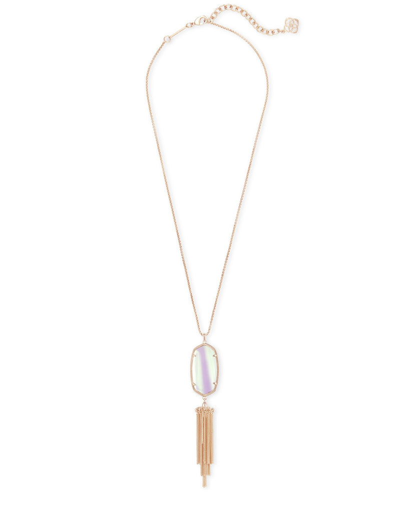 Rayne Necklace in Rose Gold Dichroic Glass