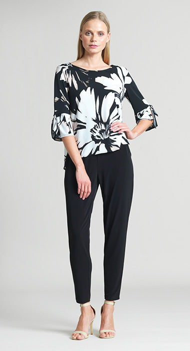 Rose Floral Print Tie Cuff Top - Black/Rose