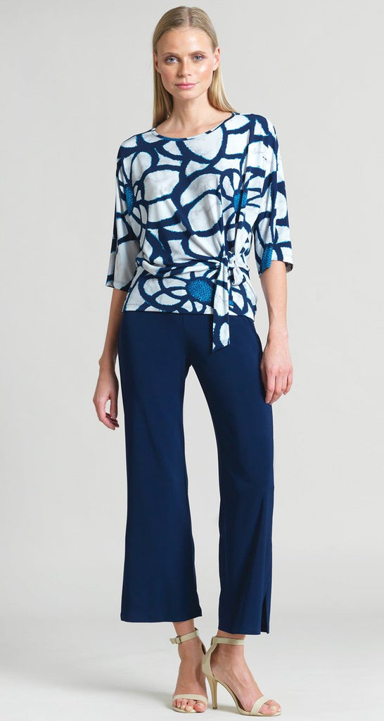 Sunflower Print Side Tie Top-White and Navy