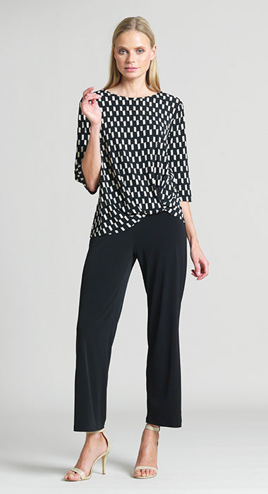 Geometric Rectangle Print Twist Hem Top - Ivory/Black