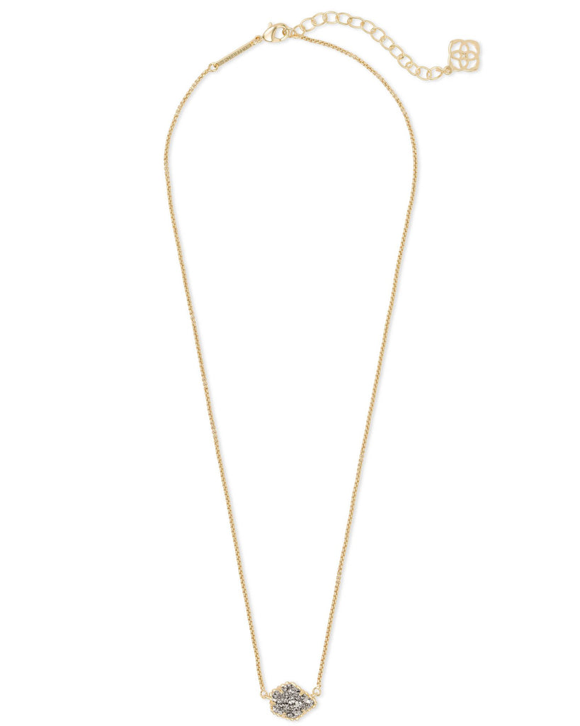 Tess Necklace in Gold Platinum Drusy