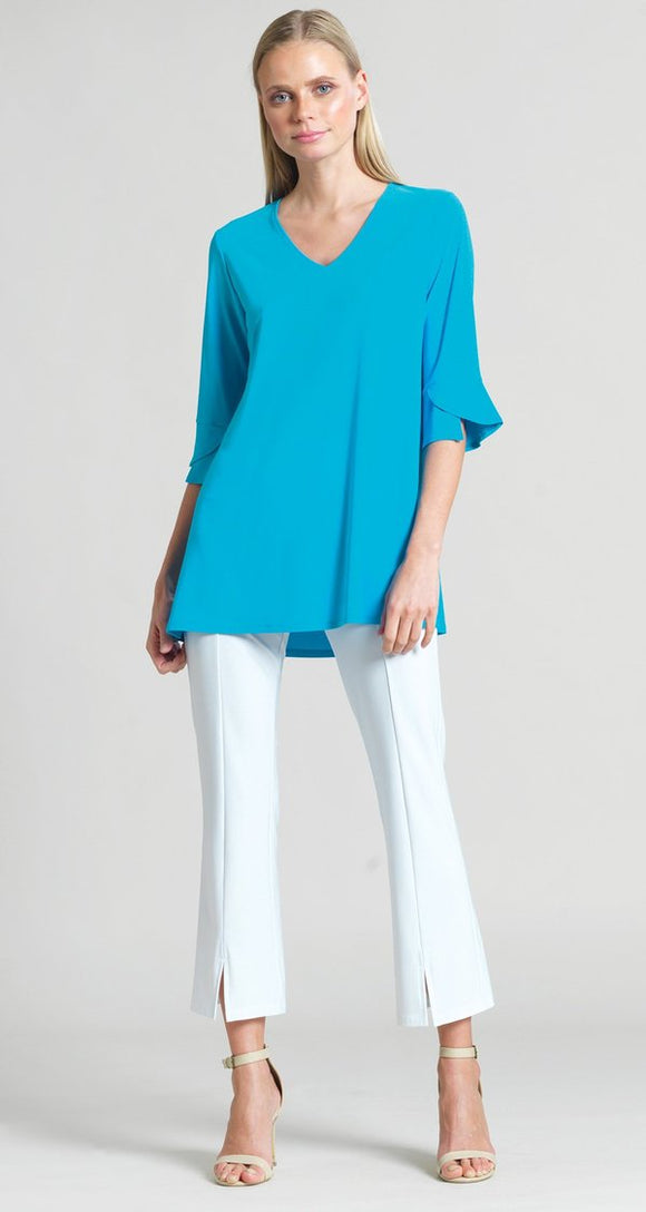 Solid V-Neck Tulip Sleeve Tunic