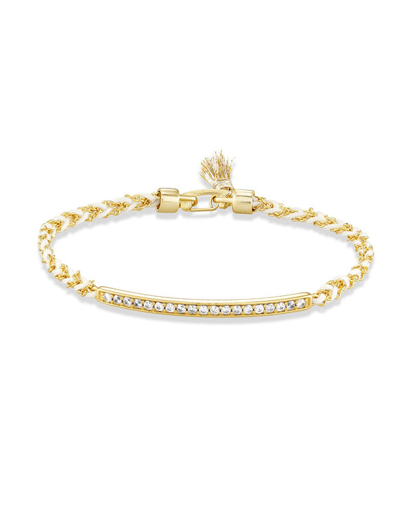Addison Gold Friendship Bracelet In White Cord