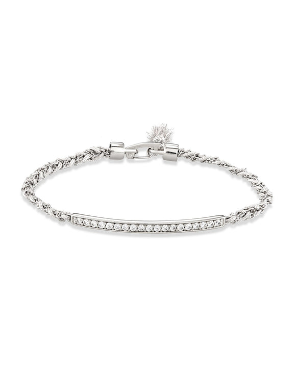 Addison Silver Friendship Bracelet In White Cord