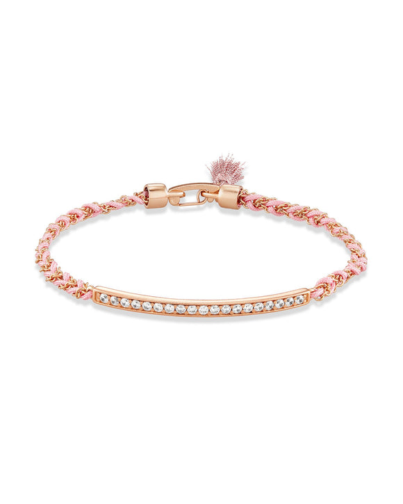 Addison Rose Gold Friendship Bracelet In Pink Cord
