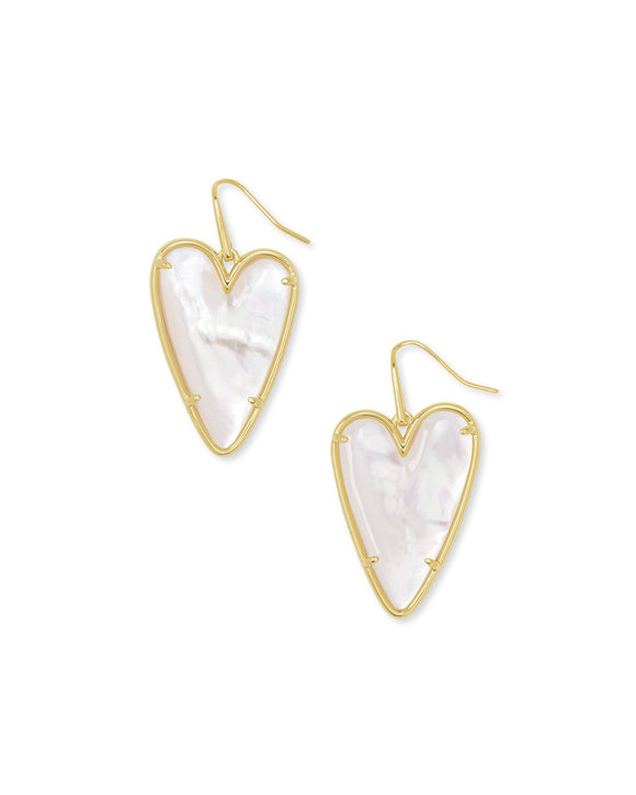 Ansley Heart Gold Drop Earrings In Ivory Mother-Of-Pearl