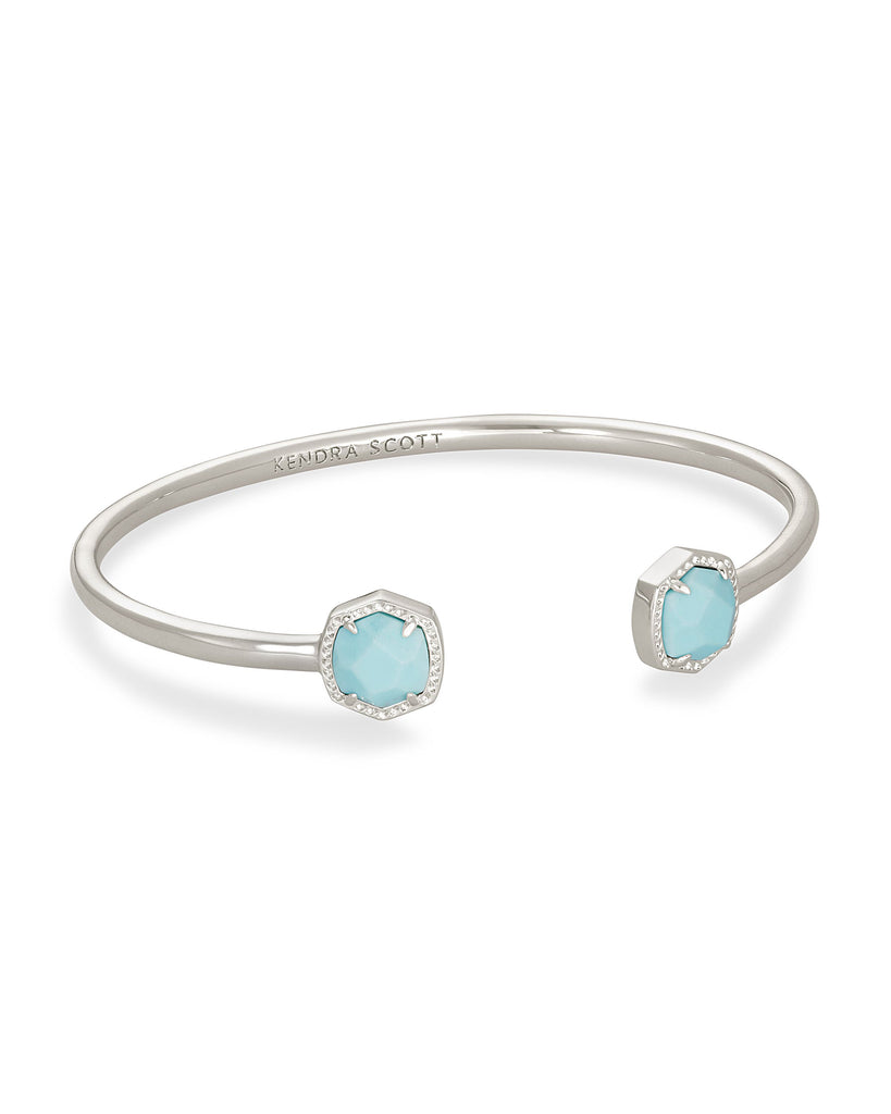 Davie Gold Cuff Bracelet In Light Blue Magnesite