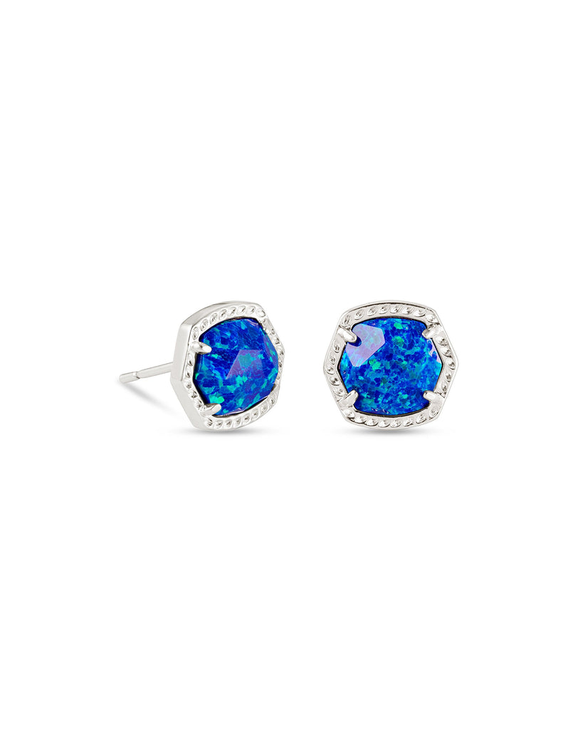 Davie Silver Stud Earrings In Royal Blue Kyocera Opal
