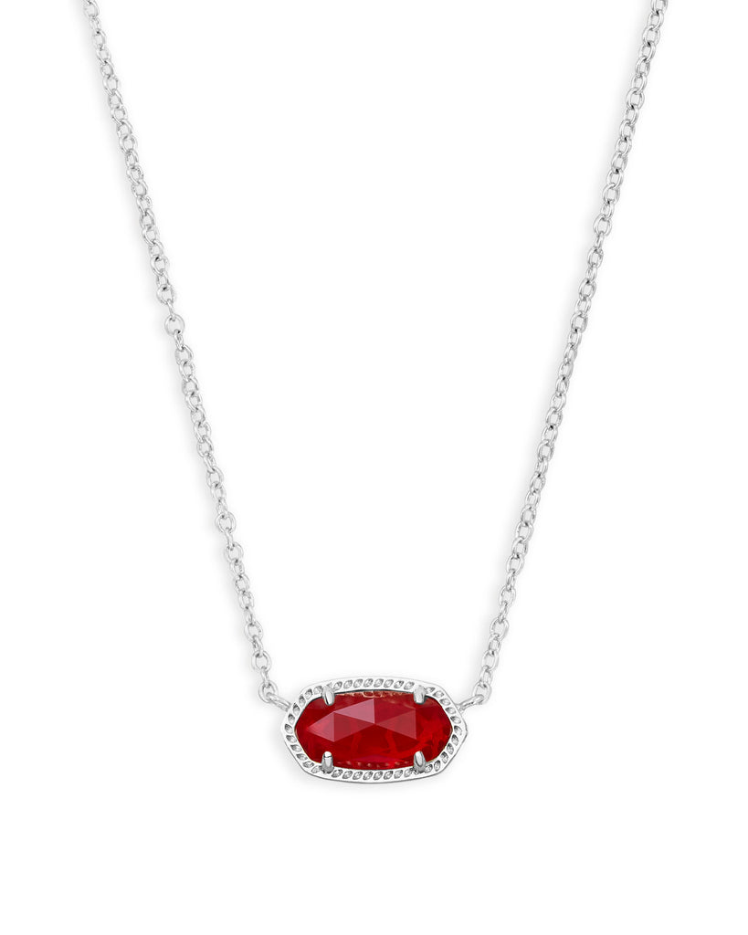 Elisa Necklace in Rhodium Ruby Red