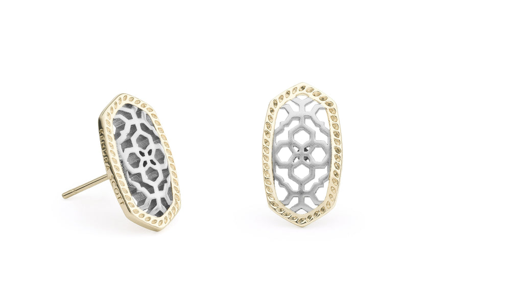 Ellie Earring in Gold and Rhodium Filigree