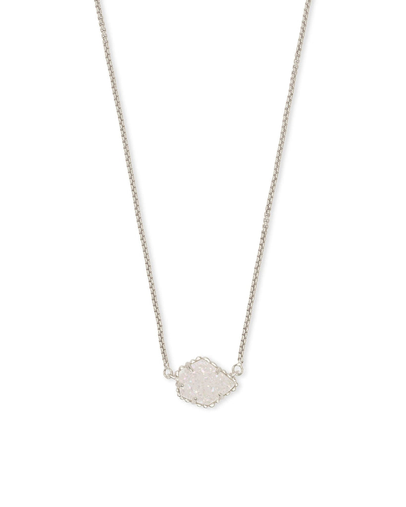 Tess Necklace in Rhodium Iridescent Drusy