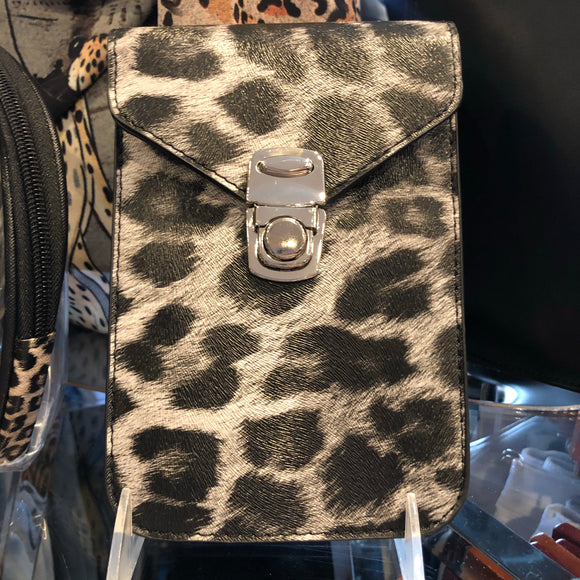 Gray Leopard Crossbody with Phone Slip
