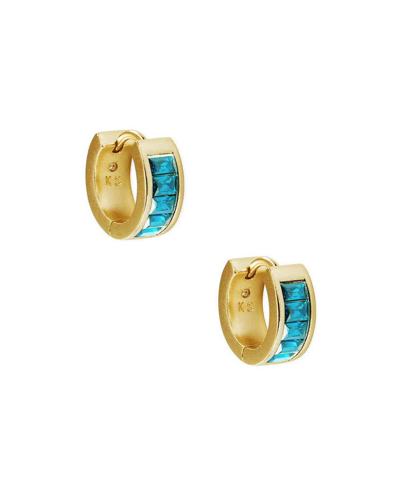 Jack Vintage Gold Huggie Earrings In Teal Crystal