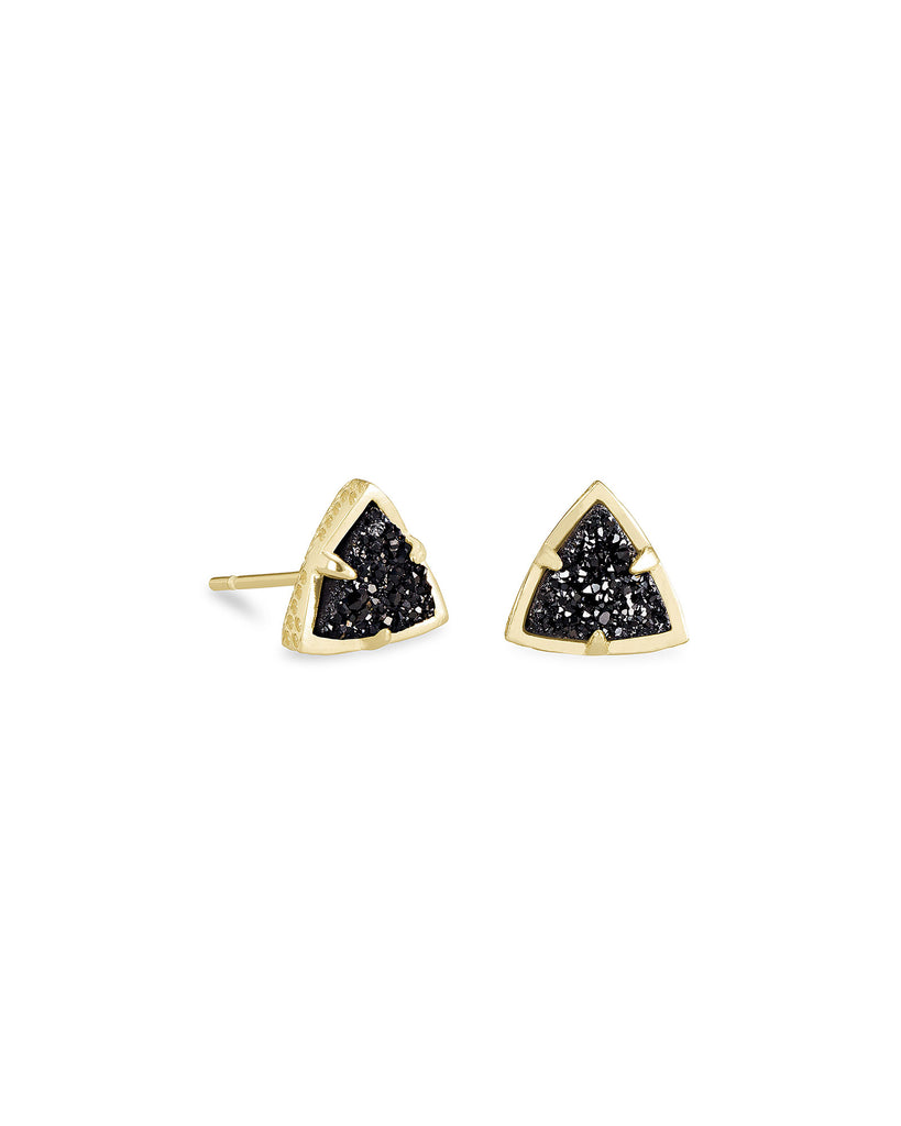 Perry Stud Earrings In Gold and Black Drusy