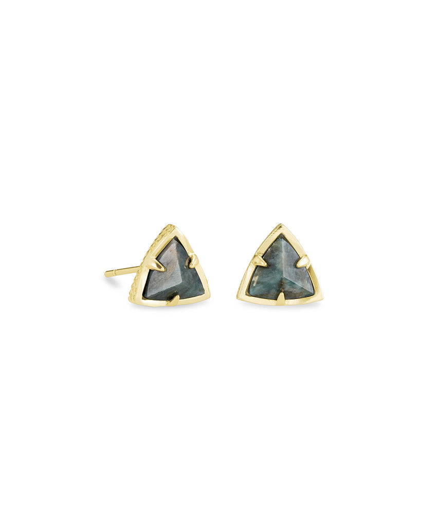 Perry Stud Earrings in Gold and Green Apatite