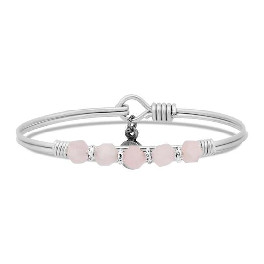Rose Quartz Beaded Bangle Bracelet