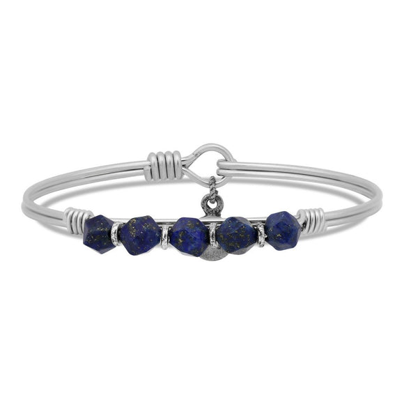 Lapis Beaded Bangle Bracelet