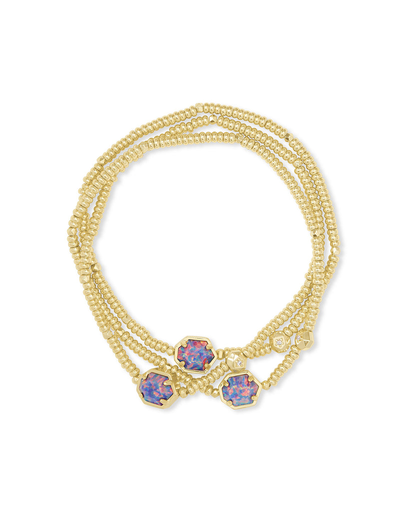 Tomon Gold Stretch Bracelet In Lavendar Kyocera Opal